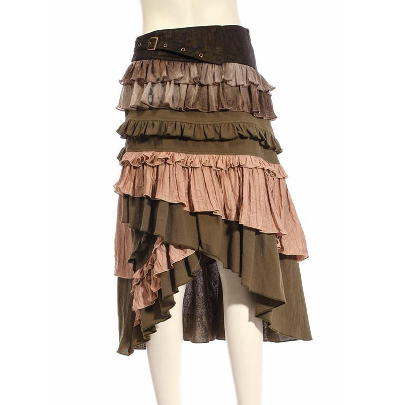 Women's Multicolored Multilayered Steampunk Skirt-Punk Design