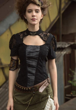 Damen Steampunk Peekaboo Top-Punk Design