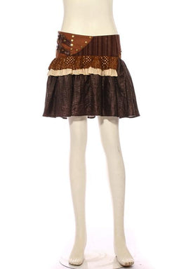 Women's Steampunk Short Leather Detailed Skirt-Punk Design