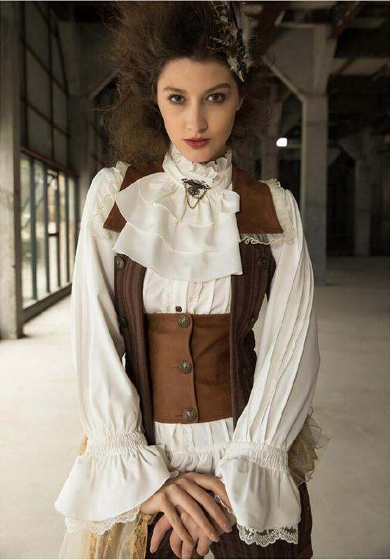 Women's Vintage Frilled Blouse With Jabot-Punk Design