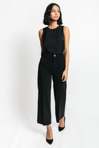 black high waisted wide leg trousers