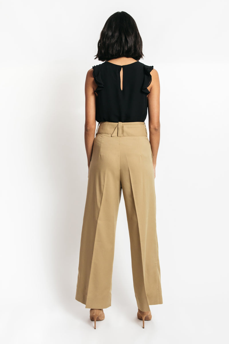 high waisted belted trousers