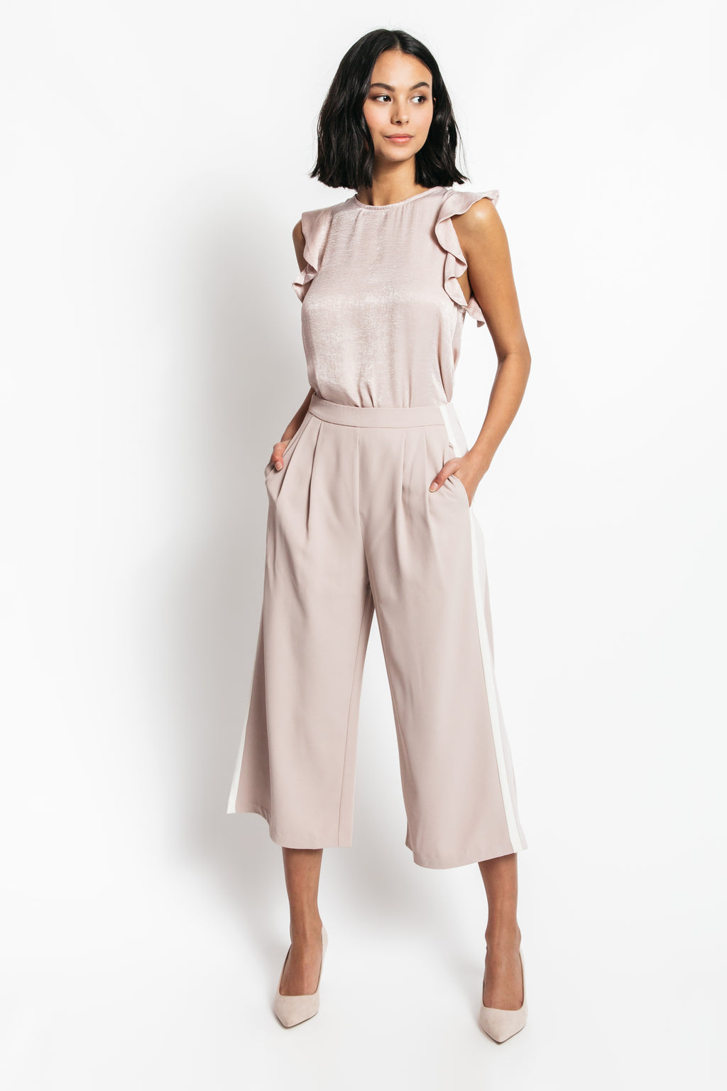 Betty Wide Leg Pants with Side Stripes