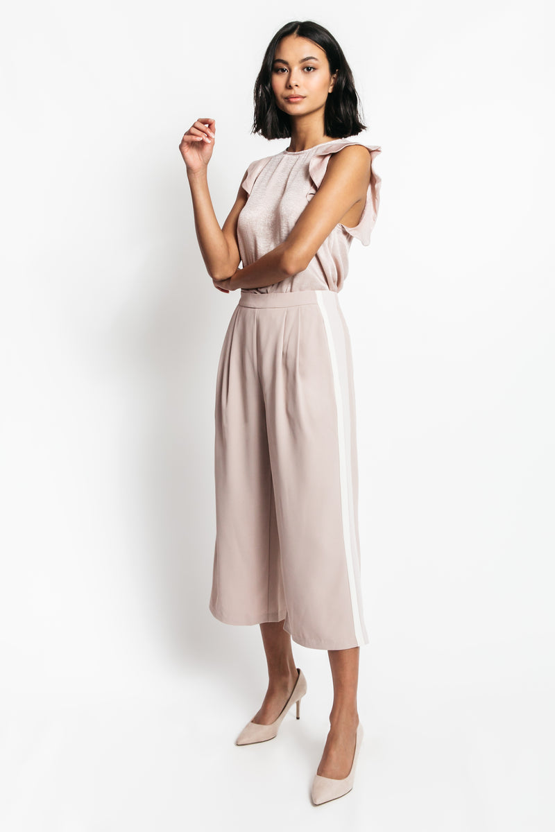 pink wide leg trousers