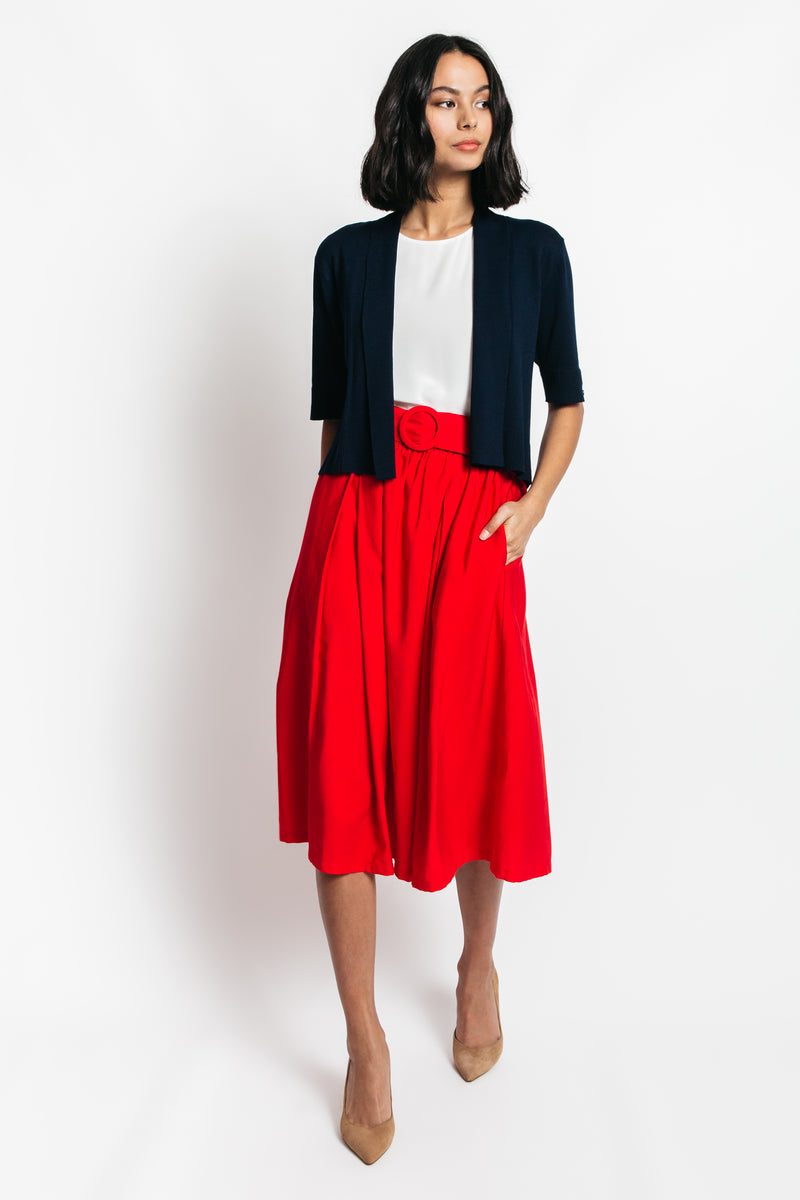 high waisted pleated midi skirt