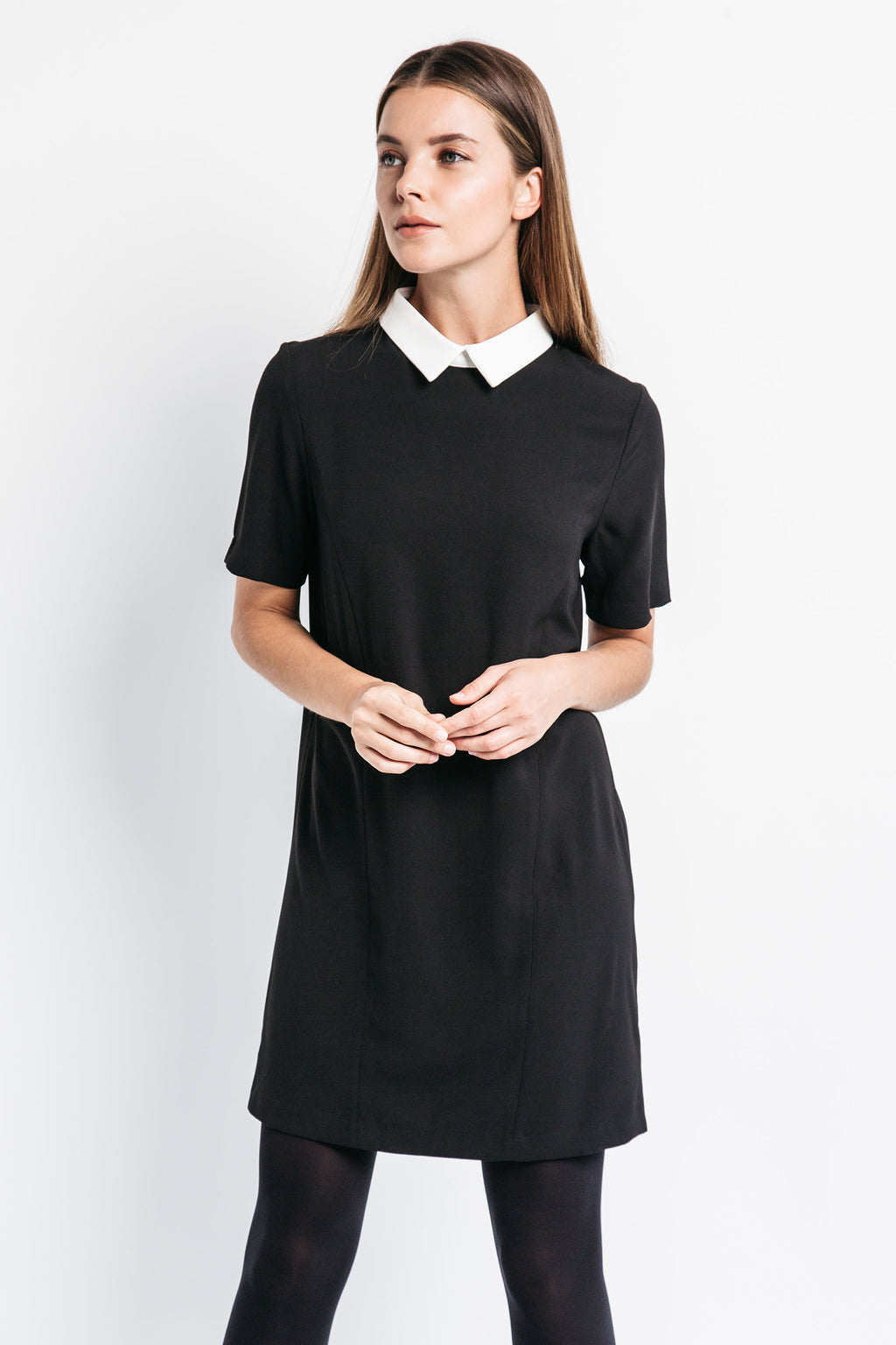 black collared dress