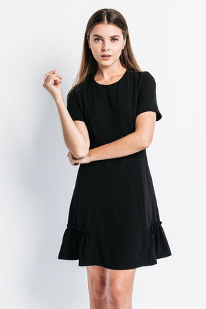 black ruffle dress