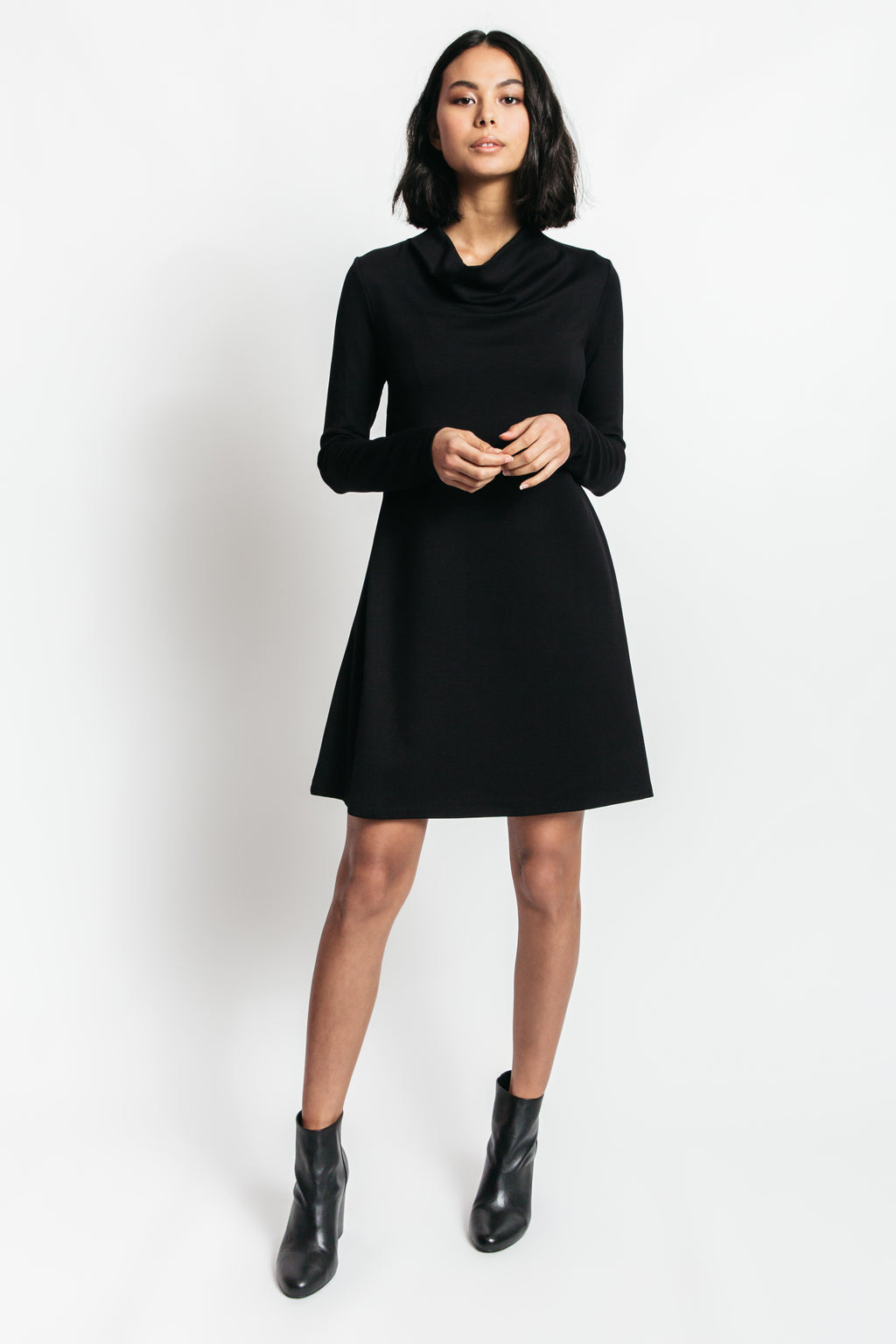 cowl neck sweater dress