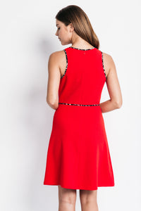 A-Line Dress with Animal Print Detail