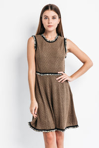 A-Line Dress with Fringe Trim