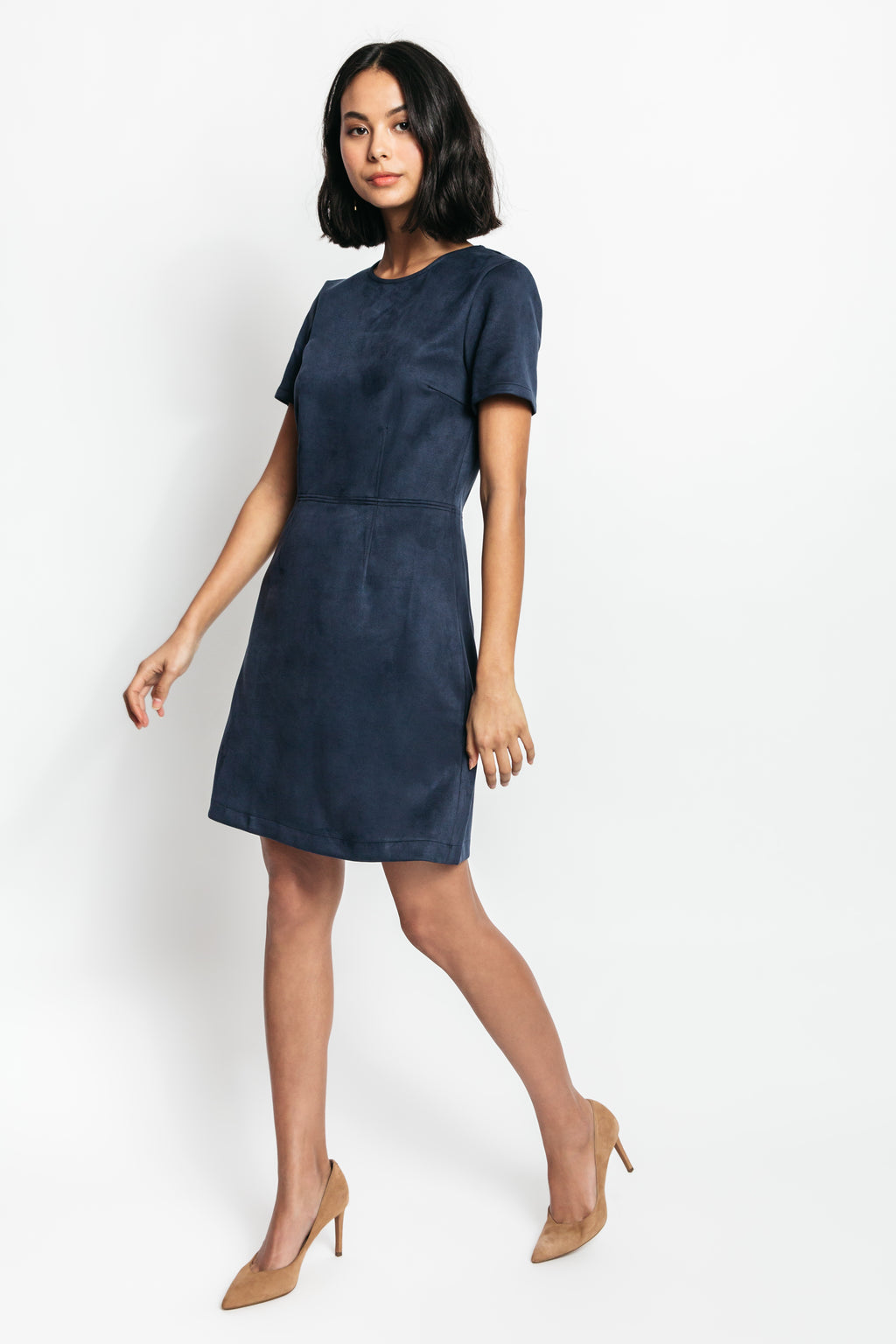 Shari Faux Suede Sheath Dress