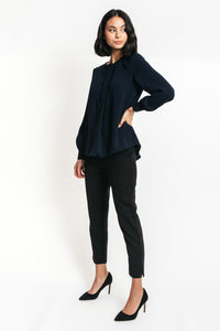 Charlise Pleated Long Sleeve Top