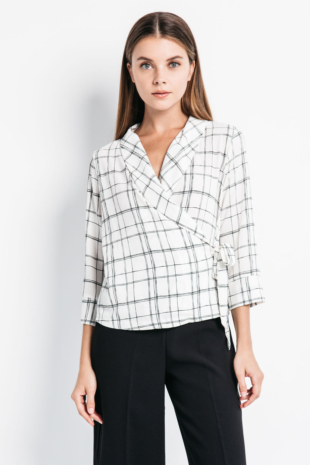 Modern Plaid Wrap Top
