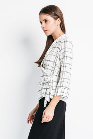 wrap blouse with tie
