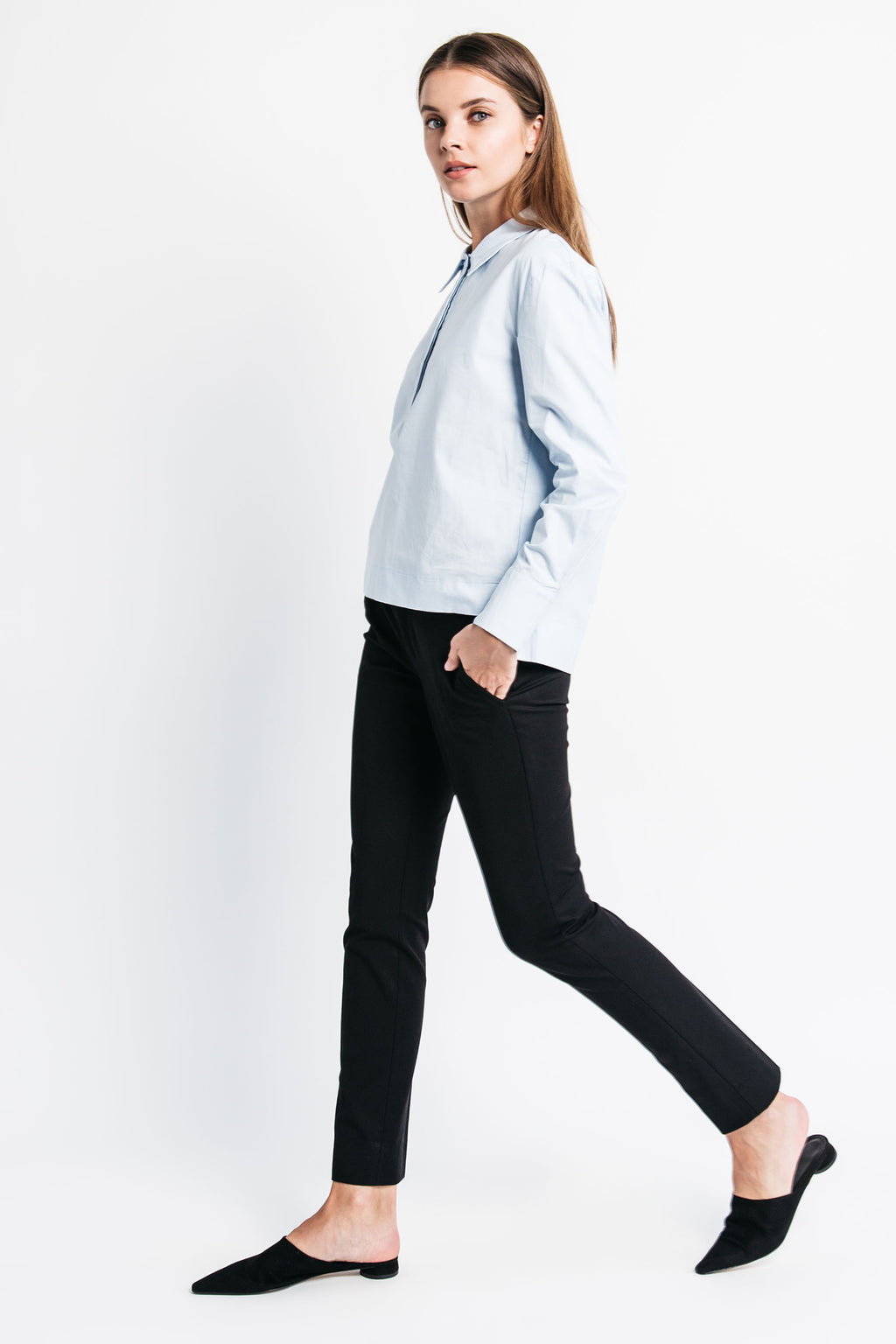Hidden Placket Collar Top