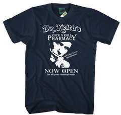 Keith Richards inspired Dr Keith's Rock N' Roll Pharmacy T-Shirt
