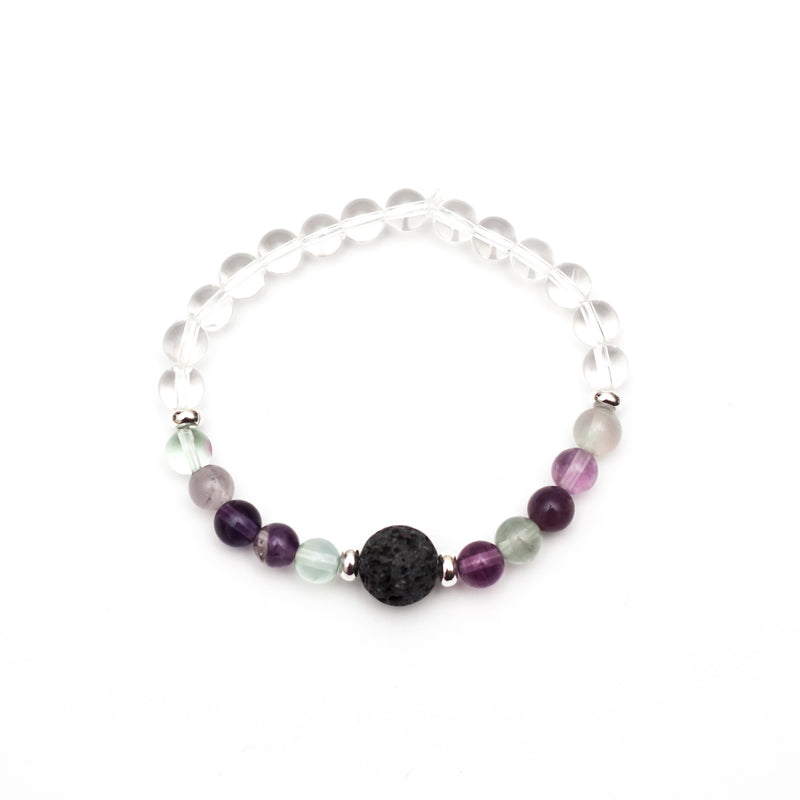 Third Eye Chakra Lava Bead Diffuser Aromatherapy Bracelet - Fluorite and Clear Quartz