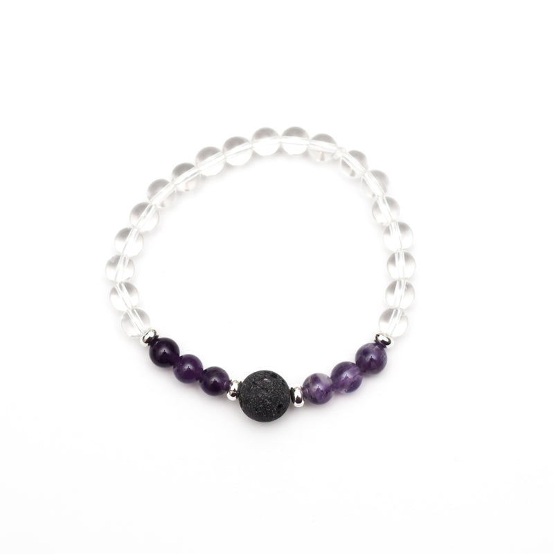 Crown Chakra Lava Bead Diffuser Aromatherapy Bracelet - Amethyst and Clear Quartz