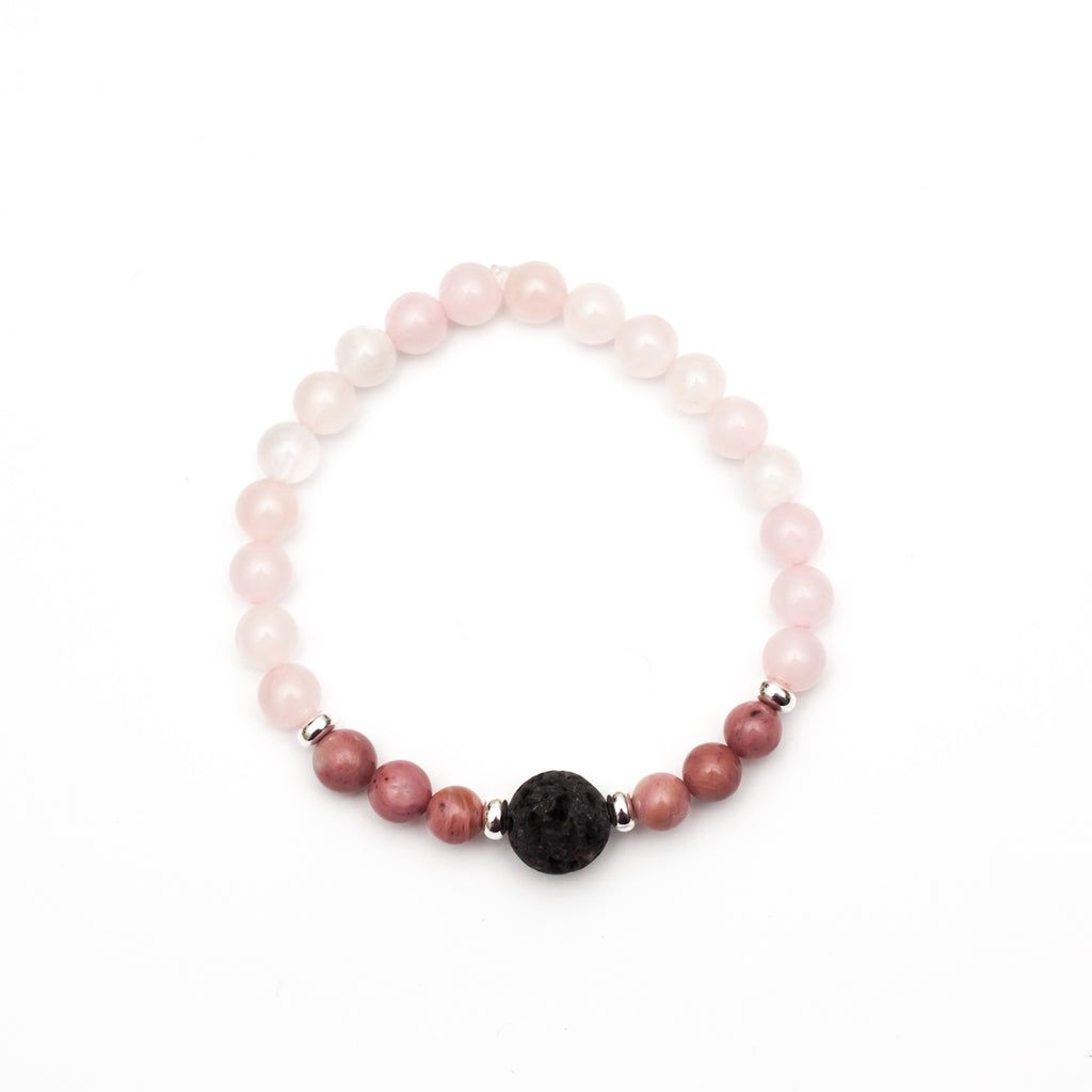 Heart Chakra Lava Bead Diffuser Aromatherapy Bracelet - Rhodonite and Rose Quartz