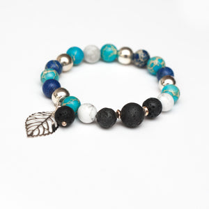 Blue Jasper and Lava Bead Aromatherapy Diffuser Bracelet with Leaf Pendant