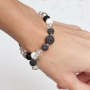 Onyx Howlite and Lava Bead Aromatherapy Diffuser Bracelet with Leaf Pendant