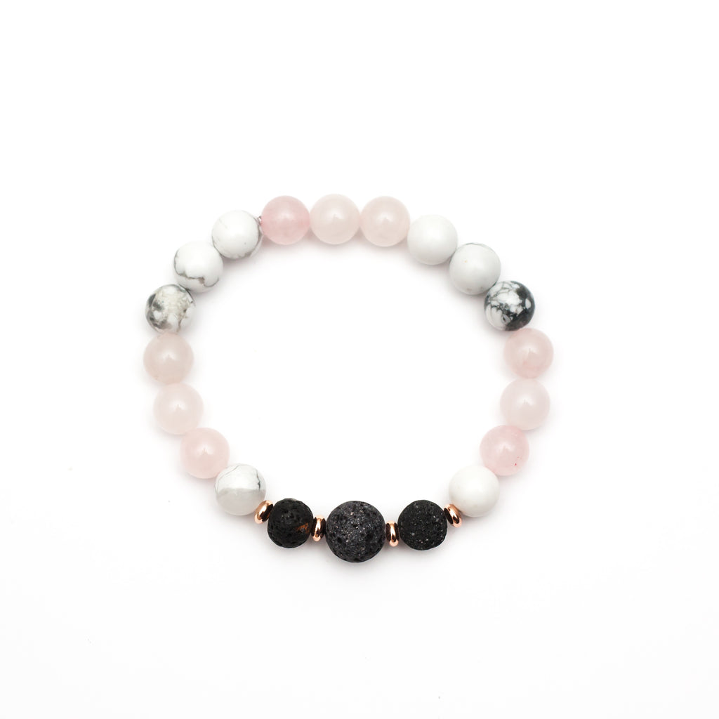 Zinnia Lava Diffuser Bracelet - Rose Quartz and Rose Gold