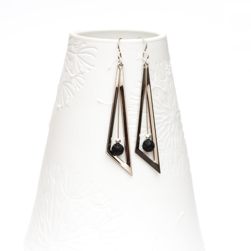 Atemi Triangle Lava Bead Diffuser Earrings