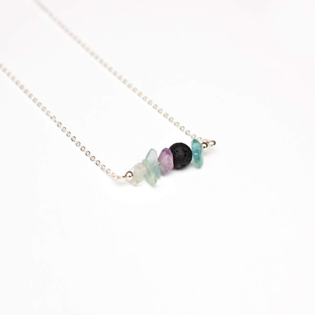 Focus Lava Diffuser Bar Necklace Fluorite Chips