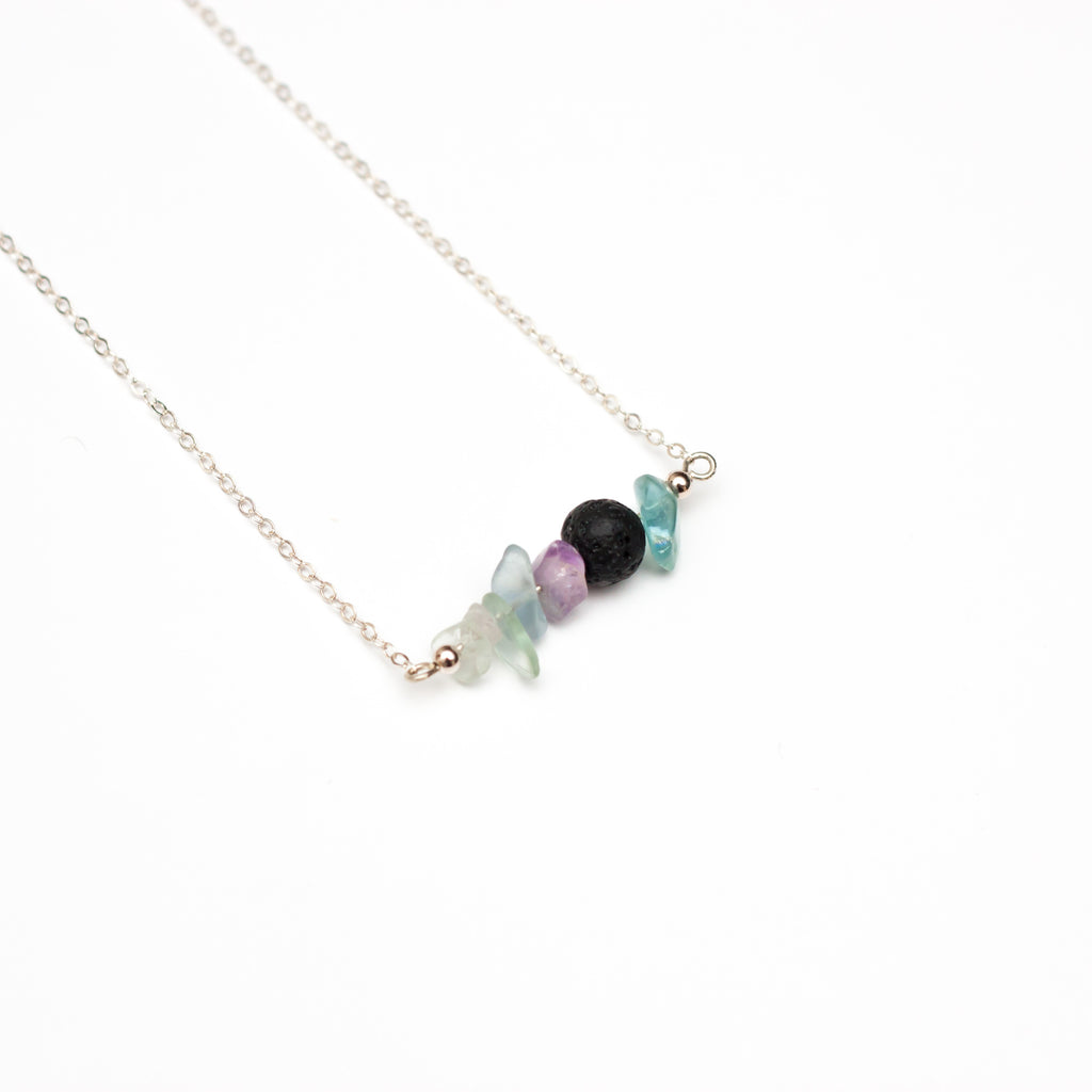 Focus Lava Bead Diffuser Bar Necklace Fluorite