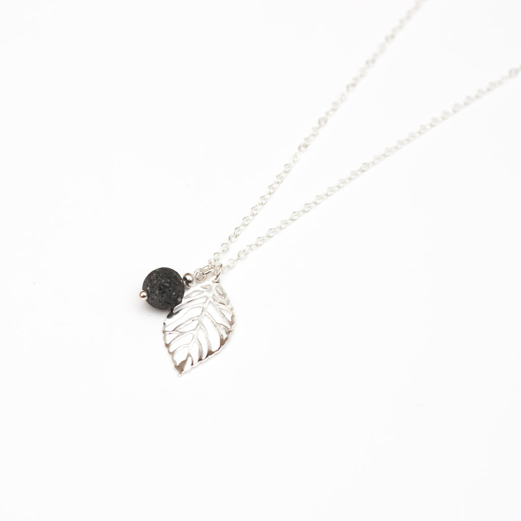 Lava Bead Pendant Diffuser Necklace with Leaf