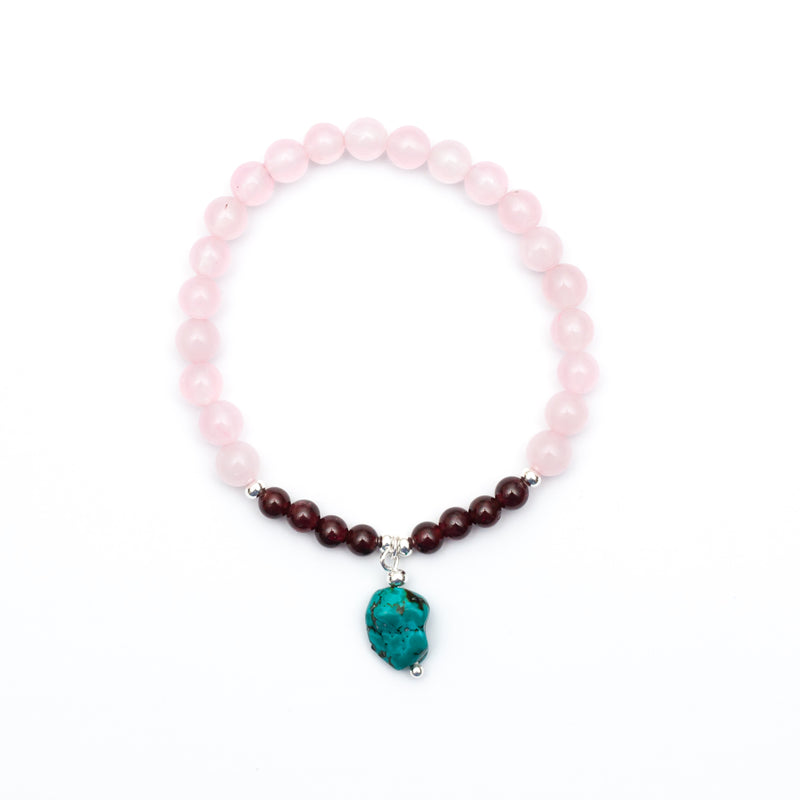 Happy Spirit Bracelet - Rose Quartz, Garnet, Turquoise