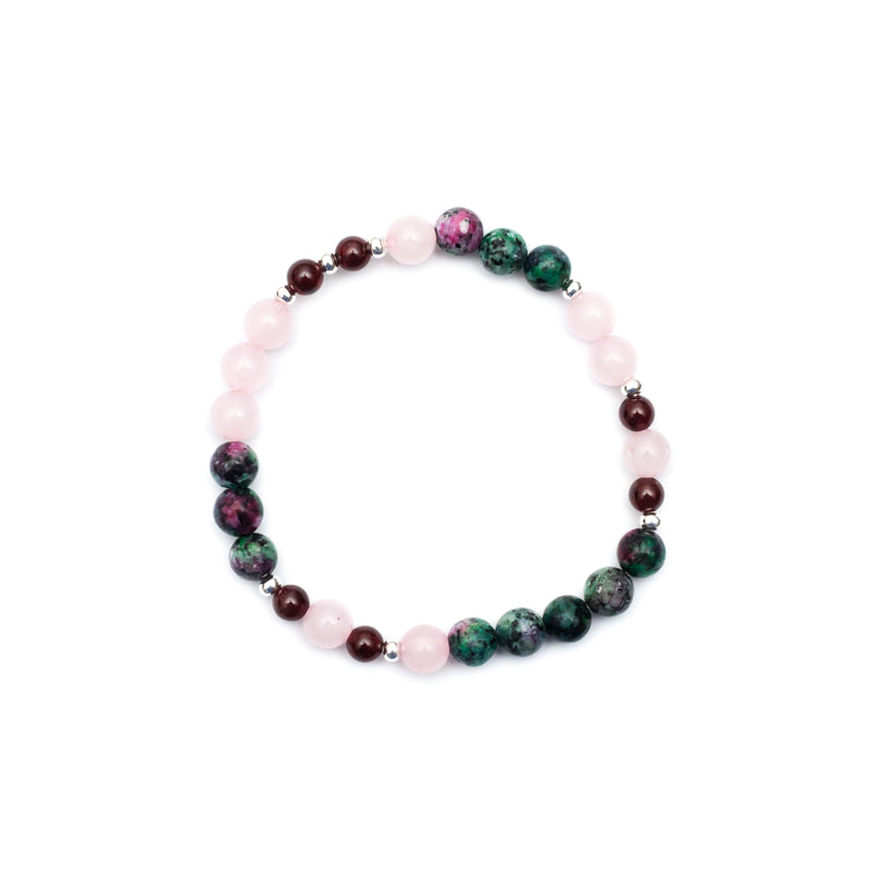 Cherish Bracelet - Ruby In Zoisite, Rose Quartz, Garnet