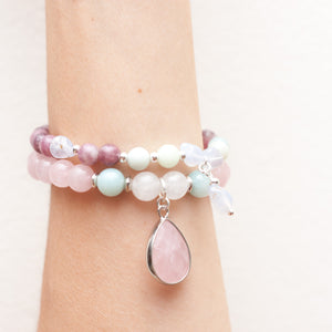 Self Love Bracelet - Rose Quartz, Amazonite, White Jade
