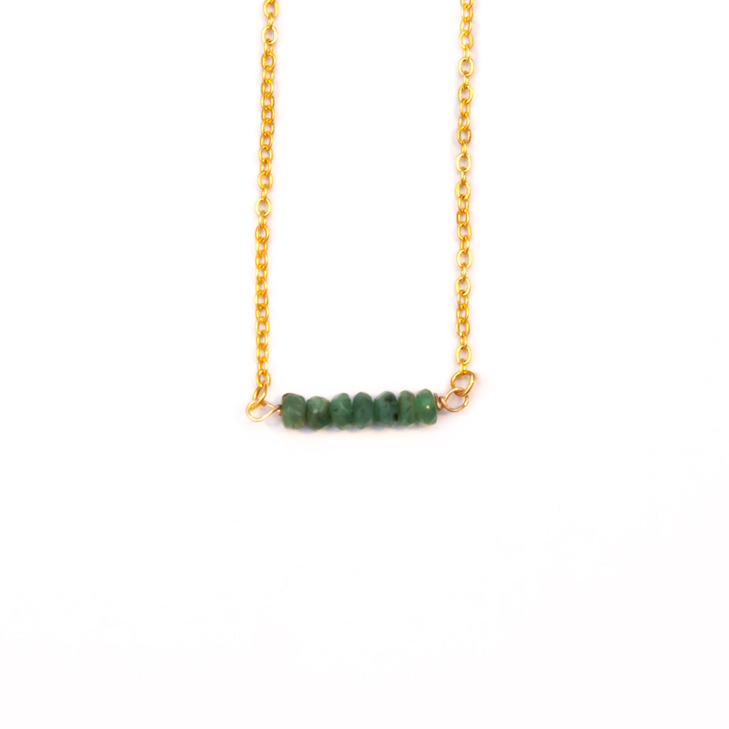 Emerald Bar Birthstone Necklace