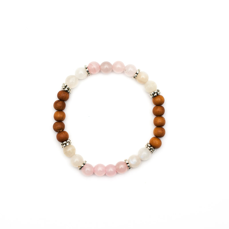 Goddess Rose Quartz and Moonstone Bracelet