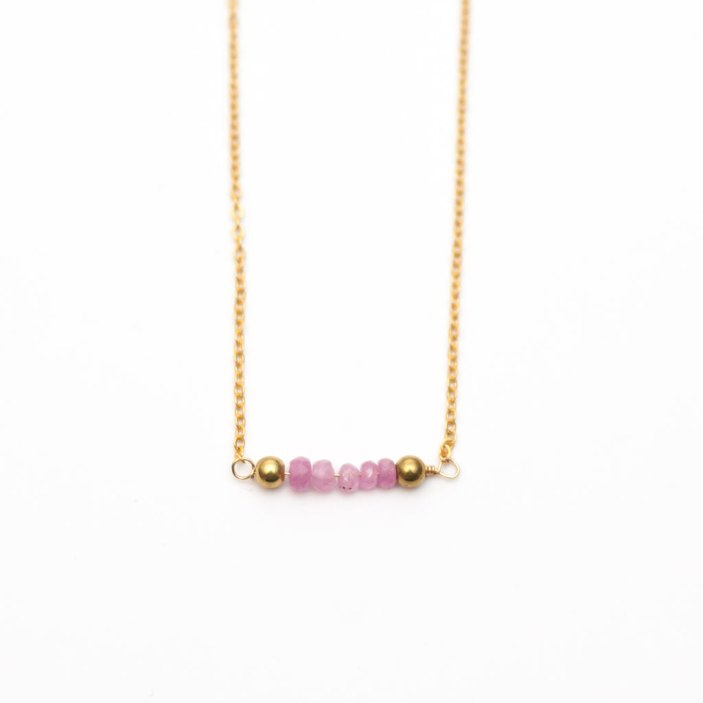 Ruby Bar Choker Birthstone Necklace