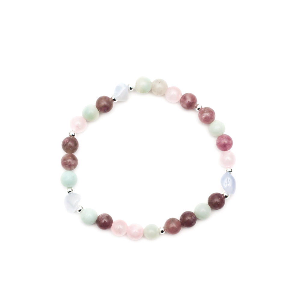 Inner Peace Bracelet - Lepidolite, Blue Lace Agate, Rose Quartz, Amazonite