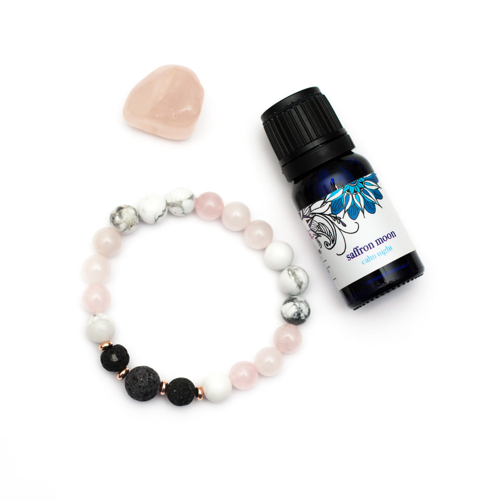 Calm The Heart Pack - Diffuser Bracelet, Oil and Crystal Gift Pack