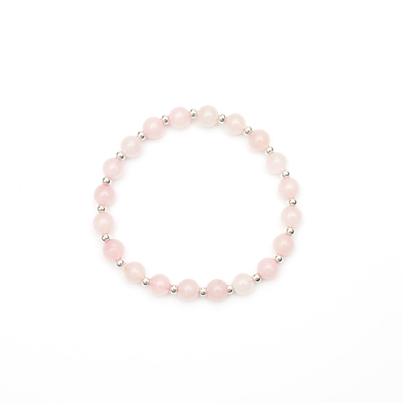 Rose Quartz & Silver Gemstone Bracelet