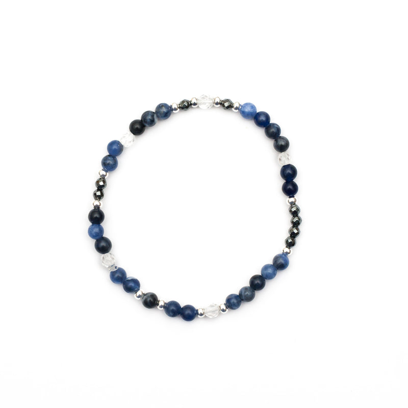 Centre the Mind Bracelet - Sodalite, Hematite, Clear Quartz