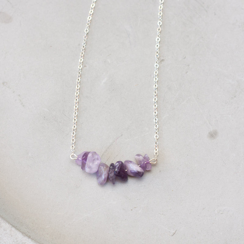Amethyst Bar Birthstone Necklace