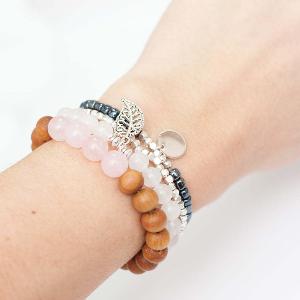 Free Spirit Bracelet Stack - Rose Quartz