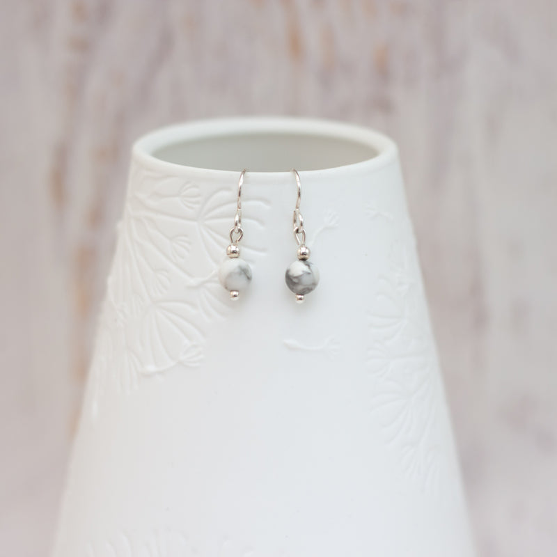 Small Howlite Drop Earrings