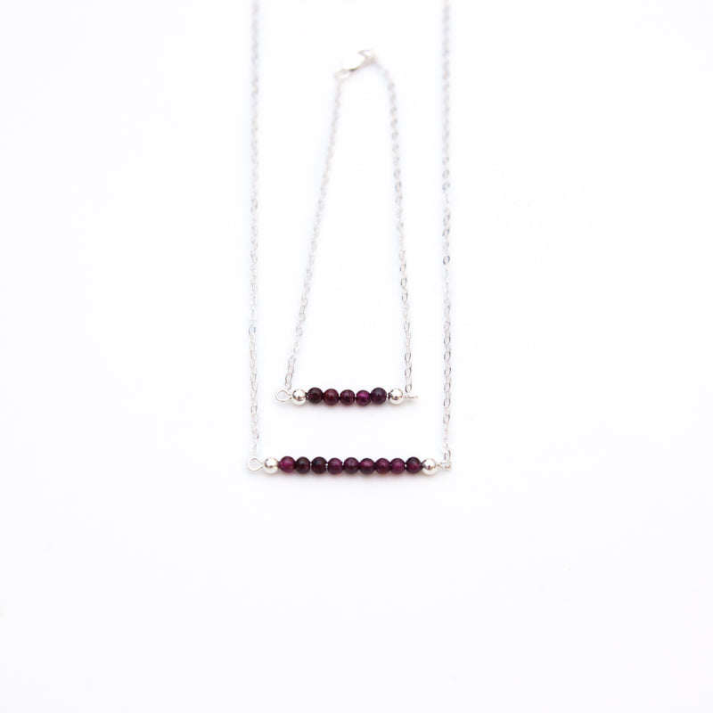 Garnet Bar Birthstone Necklace
