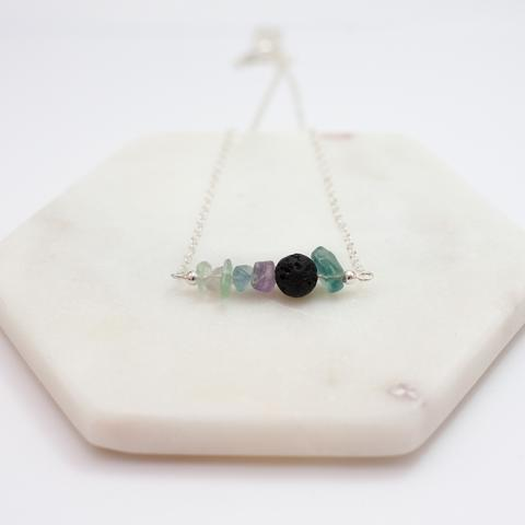 Focus Lava Diffuser Necklace Fluorite