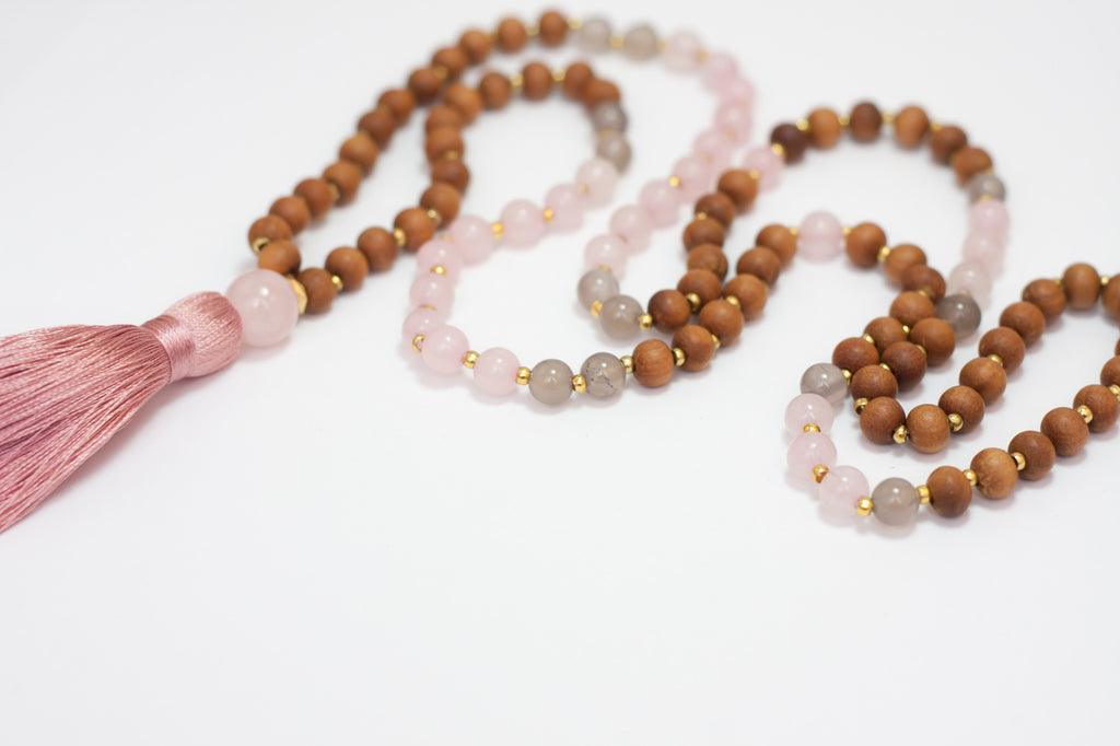 Kayelle Designs Rose Quartz Mala Beads Necklace with Pink Tassel Close Up