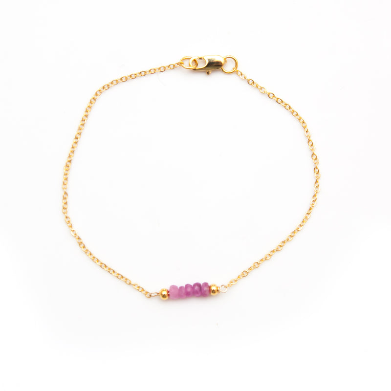 Ruby Bar Birthstone Bracelet - Gold