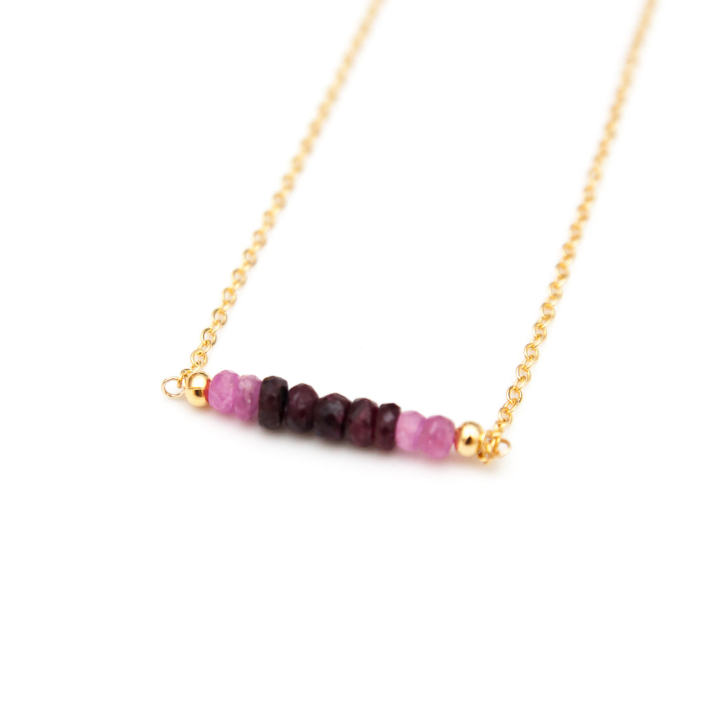 Ruby Bar Birthstone Necklace