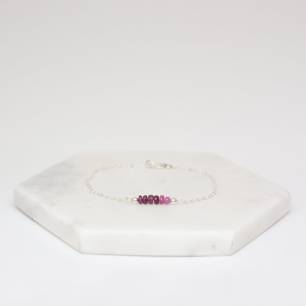 Ruby Bar Birthstone Bracelet - Silver