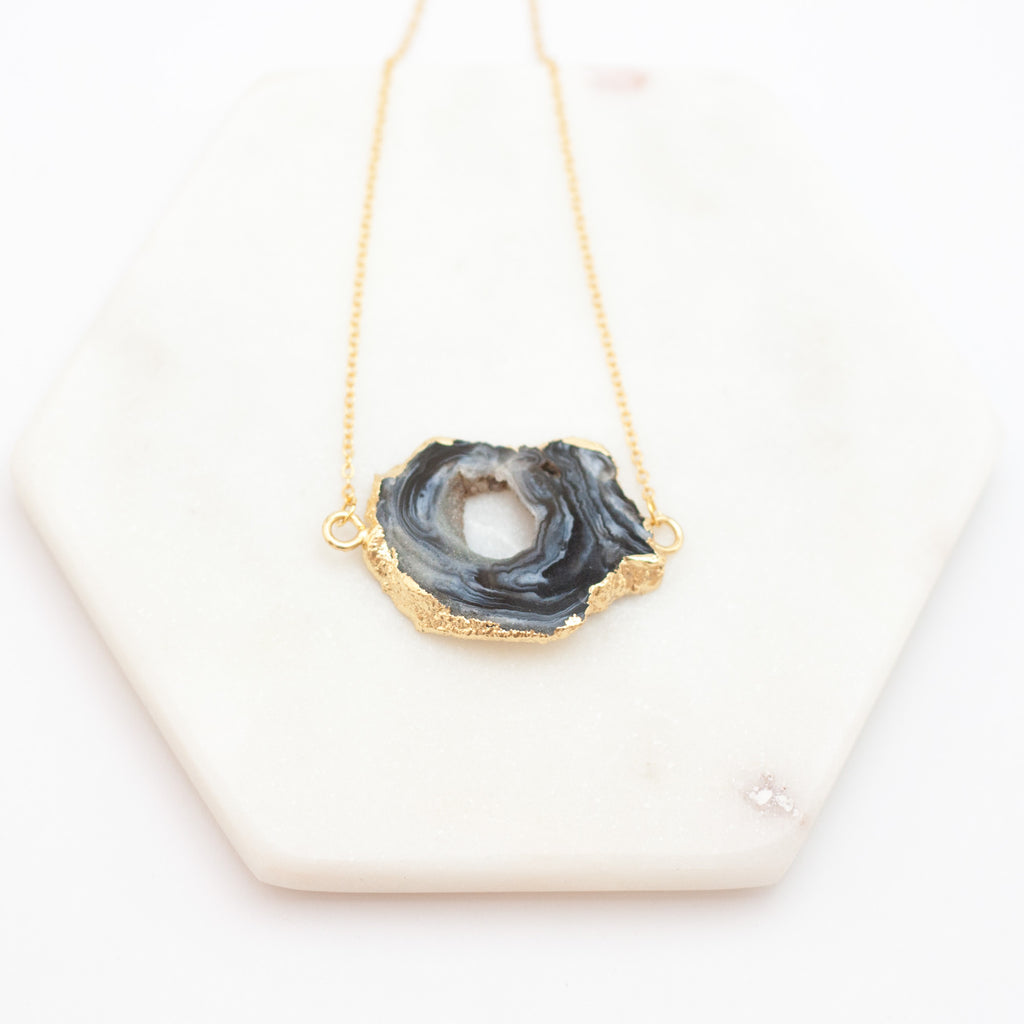 Eye of the Storm Black Agate Slice Necklace